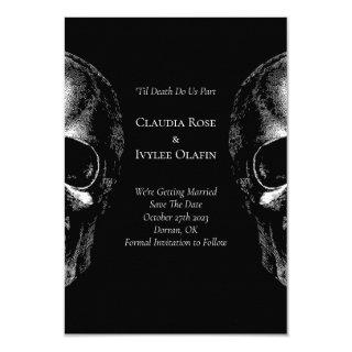 Skull Gothic Halloween Wedding Save the Date Cards