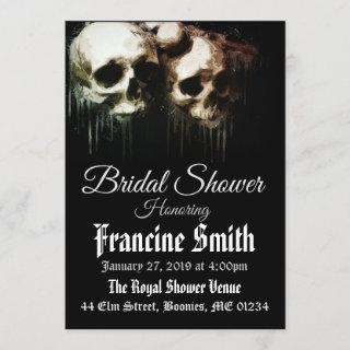 Skulls Artistic Gothic Bridal Shower Invitation