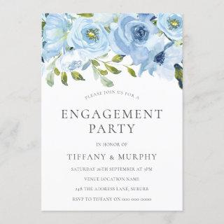 Sky Blue Flowers Watercolor Engagement Party Invitation