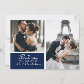 Small Elegant Navy 2 Photo Collage Wedding Note Card