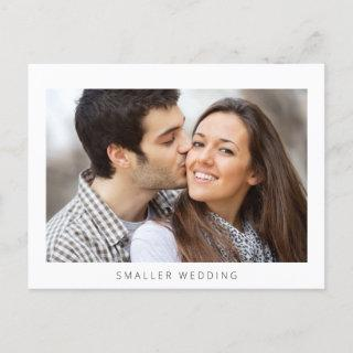 Smaller Downsized Wedding Photo Simple Modern Announcement Postcard