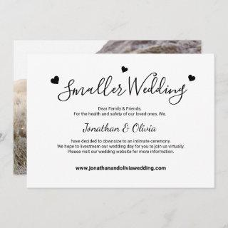 Smaller Wedding Downsizing Black and White Photo Announcement