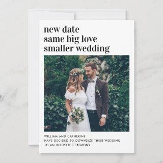 Smaller Wedding New Date Same Love Downsized Photo Announcement