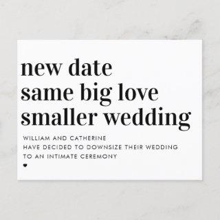 Smaller Wedding Same Love Typography Downsizing Announcement Postcard