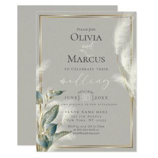 Smokey Teal Anthurium and Feathery Pampas Grass Invitation