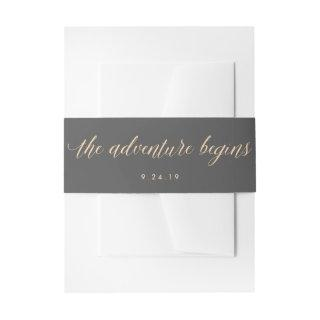 Smoky Gray and Orange The Adventure Begins Wedding Invitation Belly Band