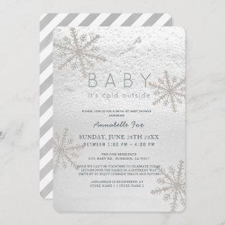 Snowflake Baby Its Cold Drive-by Baby Shower Invitations