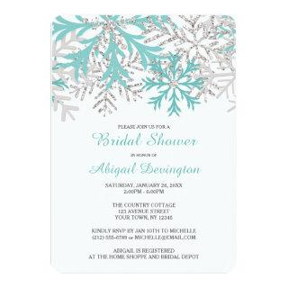 Snowflake Teal Blue Silver Winter Bridal Shower Invitations
