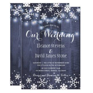 Snowflakes barn blue wood winter rustic wedding invitation