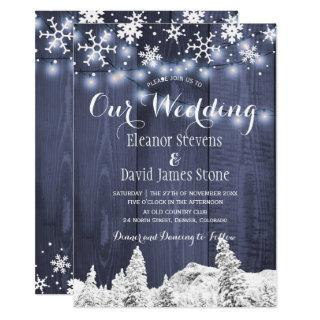 Snowflakes barn wood winter wonderland wedding Invitations