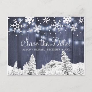 Snowflakes rustic hanging lights wedding save date announcement postcard