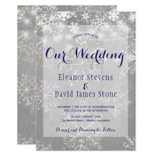Snowflakes silver lights winter wonderland wedding Invitations