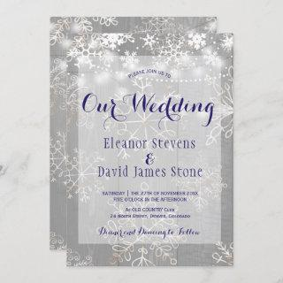 Snowflakes silver lights winter wonderland wedding invitation
