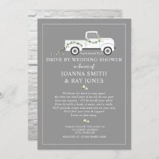 Social Distance Drive By Bridal Shower White Truck Invitation