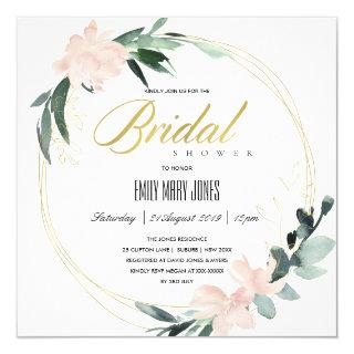 SOFT BLUSH FLORAL FRAME WATERCOLOR BRIDAL SHOWER Invitations