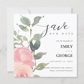 SOFT BLUSH PINK ROSE FLORAL SAVE THE DATE CARD