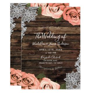 Soft Coral Floral Roses Rustic Wood Lace Wedding Invitation