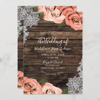 Soft Coral Floral Roses Rustic Wood Lace Wedding
