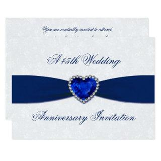 Soft Damask 45th Wedding Anniversary 5x7 Invite