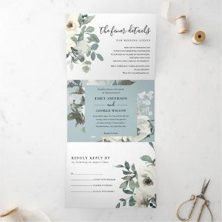 SOFT IVORY WHITE FLORAL WATERCOLOR BUNCH WEDDING Tri-Fold Invitations