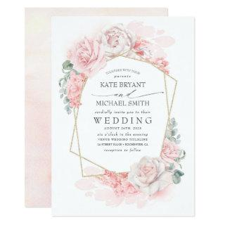Soft Pastel Pink Flowers Elegant Romantic Wedding Invitations