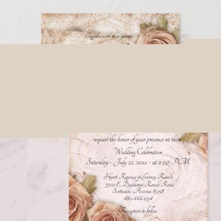 Soft Peach Colored Roses Wedding Invitations