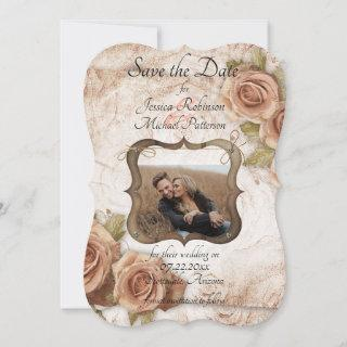 Soft Peach Colored Roses Wedding Save The Date