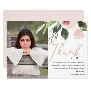 SOFT PINK BLUSH ROSE BRIDAL SHOWER THANK YOU PHOTO Invitations