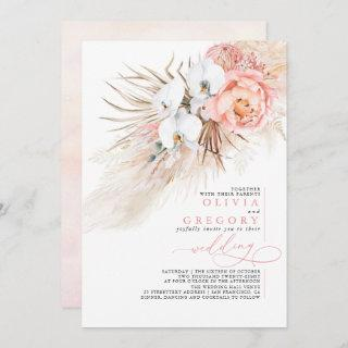 Soft Pink Floral Pampas Grass Tropical Wedding Invitations