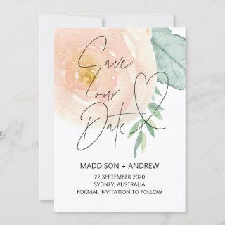 Soft Pink Floral Save the Date Template Cards