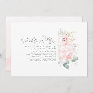 Soft Pink Flowers and Gold Greenery Bridal Shower  Invitations