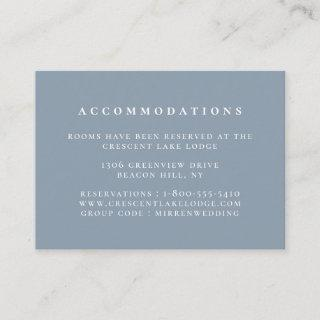 Solid Color Dusty Blue Wedding Accommodations Enclosure Card
