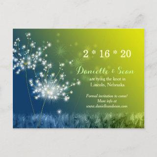Song of Dandelions Wedding Save the Date Announcement Postcard