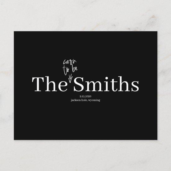 Soon to Be Smiths Wedding Save the Date Announcement Postcard