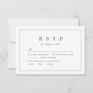 Sophisticated black and white minimalist wedding RSVP card