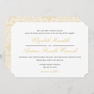 Sophisticated Gold Lace Script Wedding Invitations