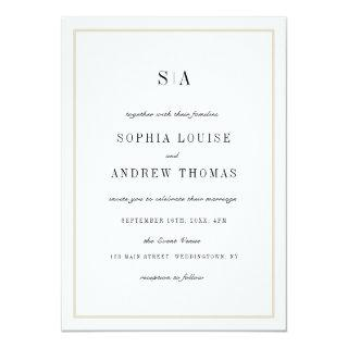 Sophisticated monogram minimalist wedding invitation