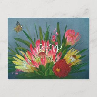 South African Proteas Wedding RSVP with Photo  Postcard