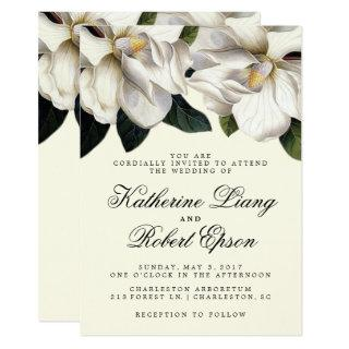 Southern Magnolia Botanical Wedding Invitations