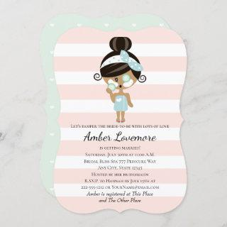Spa Themed Bridal Shower Invitations Dark Skin