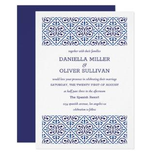 Spanish Navy Indigo Tile Mediterranean wedding Invitation