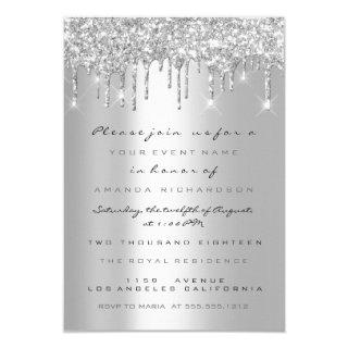 Spark Glitter Drips Silver Gray  Bridal Sweet 16th Invitations