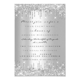Spark Glitter Drips Silver Lux Bridal Sweet 16th Invitations