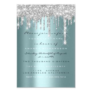 Spark Glitter Drips Silver Teal Bridal Sweet 16th Invitation