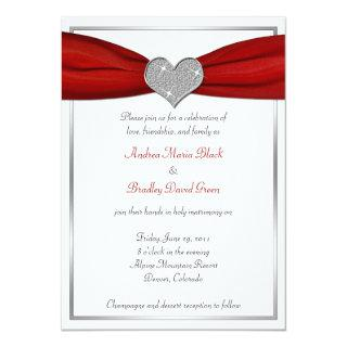 Sparkle Heart with Red Satin Ribbon Invitations