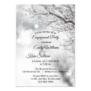 Sparkling Snow and Ice Winter Engagement Party Invitation