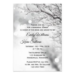 Sparkling Snow and Ice Winter Rehearsal Dinner Invitations