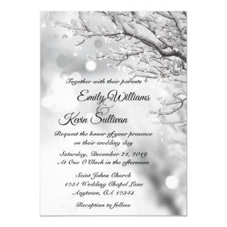 Sparkling Snow and Ice Winter Wedding Invitation