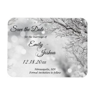 Sparkling Snow & Ice Winter Wedding Save the Date Magnet