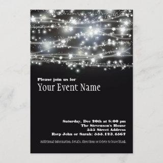 Sparkling Stars Black and White Party Invitations